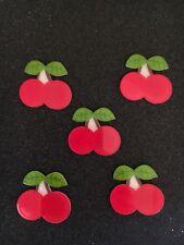 5pc Glitter Cherry resin planar flatback, Red Fruit, Cabochon, Bow Center, Slime