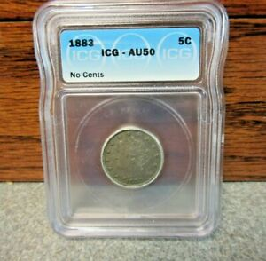1883 Liberty Head Nickel ICG : graded AU50 : No Cents Variety : BUY-IT-NOW