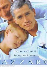 PUBLICITE ADVERTISING 115 2001 Azzaro Chrome  eau de toilette pour homme