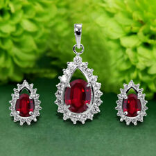 3.50 Ct Oval Red Ruby Diamond Cluster Stud Earring & Pendant 14k White Gold Over