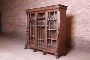 19th Century Ornate Carved Oak Leaded Glass Triple Bookcase