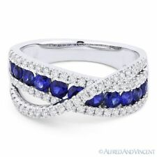 1.37ct Round Cut Sapphire & Diamond Pave Band Right-Hand Ring in 18k White Gold