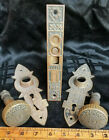 Antique Eastlake Door Knobs Plates and Lock All Matching