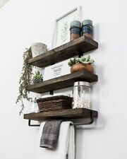 """Industrial 3-Tier Floating Shelf with Towel Bar, 24"""""""