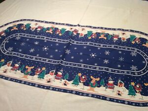 """Oval Cotton Winter/Christmas Holiday Scene Tablecloth Blue /White 60 x 80"""""""