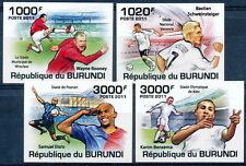 BURUNDI 2011 MNH Imperf 4v, Football, Sports, Rooney, Samuel Eto'o, Karim, Basti