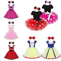 Girls Kids Halloween Princess Dress Fancy Cosplay Tutu Skirts Headband Outfits