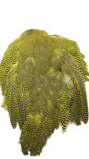 """GUINEA FOWL SKIN with WINGS & TAILS  """" Bright Yellow """"    very good quality"""