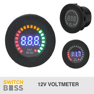 Battery Volt Meter LED Colour Display 12v 24v Digital Voltage Gauge Universal