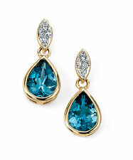 9CT Yellow Gold Diamond and Topaz Drop Earrings New, Hallmarked and Giftbox
