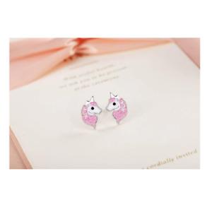 Girls Ladies 925 Sterling Silver Pink Main Unicorn Stud Earrings Gift Clear Gems
