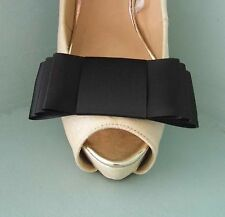 2 Black Large 4'' Triple Bow Clips for Shoes - other colours on request