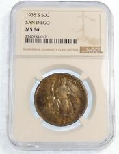 1935-S CA Pacific Int Expo San Diego Silver Commemorative Half Dollar NGC MS 66