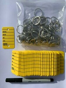 Car Key Tags Pack 100 - Yellow - Strong ring/Sharpie Ultra Fine Pen