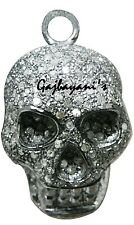 Rose Cut Diamond Skull Pendant Incredibly Handcrafted Antique Finish 3.25 ct.