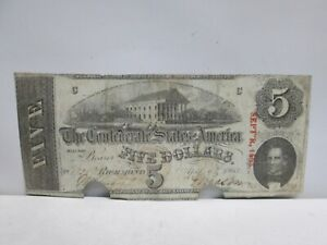 1863 CONFEDERATE STATES $5 LARGE NOTE- CUT & STAMPED