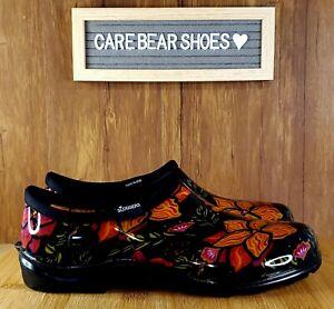 SLOGGERS Flower Power Women's Garden Rain Shoes US 10 Black Multi Floral