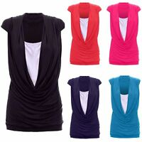 1s Ladies Womens Gathered Cowl Neck Contrast Insert Long Vest Top Plus Size 8-26