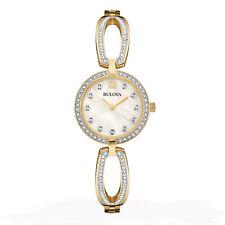 Bulova Women's Quartz Crystal Accents Gold-Tone Case 26mm Watch 98L225