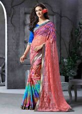 INDIAN Bollywood Designer PURA GEORGETTE Net etnica Sari Camicetta ridotto