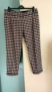 Next Tailored Plaid Check Trousers Size 16 burgundy Faun Ladies Womens