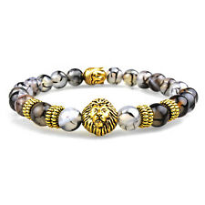 Gold Lion Buddha 8MM Natural Stone Beaded Charm Men's Bracelet Gift for Him USA