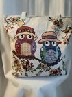 Owl Couple Cottagecore Canvas Beach Shopping Hobo Tote Shoulder  Bag Stichted