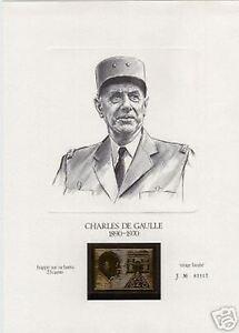France General de Gaulle: Vignette On Gold 23 Carat New, Pull Limit V741
