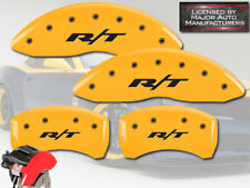 """2006-2010 Dodge Charger """"R/T"""" Front + Rear Yellow MGP Brake Disc Caliper Covers"""