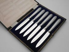 VINTAGE CASED BEAD PATTERN FRUIT EATING / DESSERT CUTLERY KNIVES - SILVER PLATED