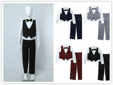 Jungen Bekleidungsset Gentleman Anzug Langarm Hemd Weste Hose Hochzeit Kommunion