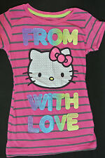HELLO KITTY Girls PINK Graphic Short Sleeve Striped Size M Tee T-shirt *EUC*