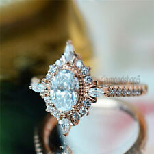 Oval Cut 2.05 Ct Near White Moissanite Vintage Engagement Solid Rose Gold Ring 7