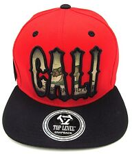 CALIFORNIA REPUBLIC Snapback Cap Hat CALI Bear Flag Red Black Flat Bill  NWT