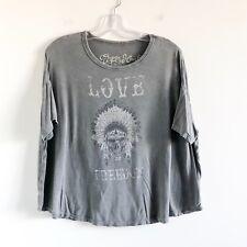 Gypsy Heart gray indian skull skeleton women's top t shirt boho S small oversize