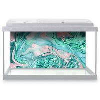 Fish Tank Background 90x45cm - Turquoise Marble Blue Stone Ink Art  #15884