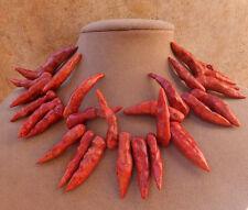 GEN BAMBOO CORAL BIG firecracker chili pepper NECKLACE RED BRANCH BALI COPPER