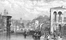 Italy VERONA CASTLE VILLA ADIGE RIVER Boats ~ 1833 Landscape Art Print Engraving