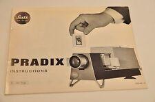 Leitz Pradix Manual, c1963, Original not a copy!