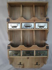 SHABBY CHIC FRENCH FURNITURE RUSTIC UNPAINTED WOOD 6 METAL DRAWERS & HOOKS