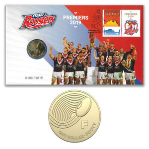 Australia 2019 NRL Grand Premiers Sydney Roosters Stamp & $1 UNC Coin - PNC