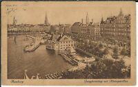 Ansichtskarte Hamburg - Jungfernstieg mit Alsterpavillon - 1924 - schwarz/weiß