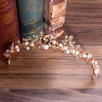 Pink Crystal Tiara Gold Wedding Crown Baroque Rhinestone Headpiece Bride Jewelry