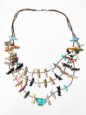 """Sterling Silver Fetish Fox Eagle Turquoise Pendant Bead Necklace 29mm 22.5"""""""