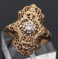 Victorian Era 10 Karat Yellow Gold Diamond Filigree Floral Ring