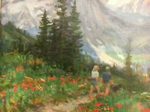 Joe Abbrescia Highline Trail Glacier National Park 16x20 Original Oil Painting