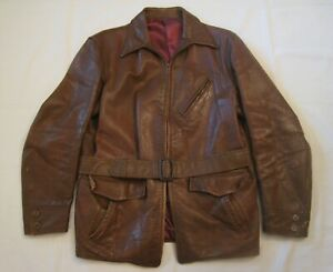 Vintage 1940's-50's Brown Leather Jacket sz 44