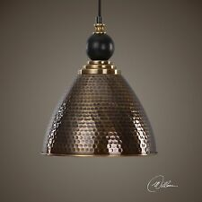 AGED HAMMERED BRASS METAL FINISH HANGING PENDANT CEILING LIGHT FIXTURE KITCHEN