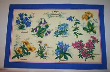 Fleurs de Montagne (Mountain Flowers) 100% Cotton Tea Towel, Made in France NWOT