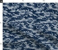 Camo Camouflage Army Military Navy Blue Low Spoonflower Fabric by the Yard